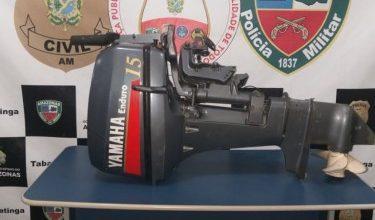 Foto de Polícia Militar recupera motor de popa roubado em comunidade indígena, em Tabatinga